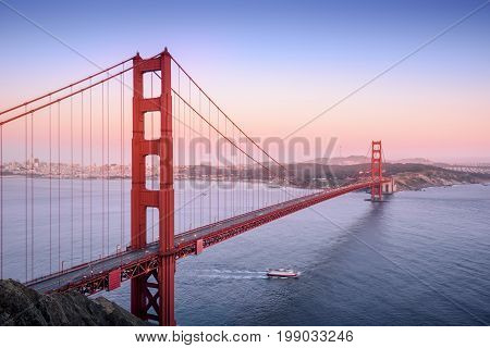 Golden Gate San Francisco California at sunset