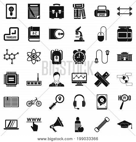 Business seminar icons set. Simple style of 36 business seminar vector icons for web isolated on white background