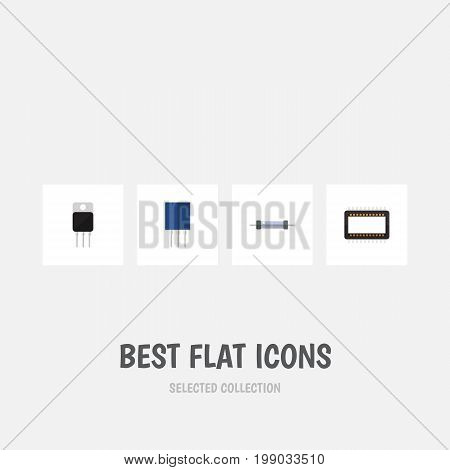 Flat Icon Electronics Set Of Receptacle, Mainframe, Resistor And Other Vector Objects