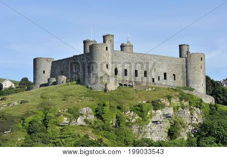 Harlech Castle in Gwynedd North Wales a medieval castle built in the 13th century by Edward I during his invasion of Wales.