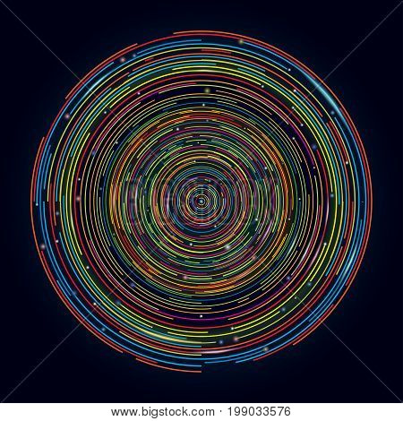 Circle future design tech background. Space Technology digital concept banner, abstract  swirl vector