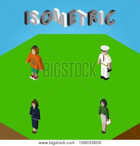 Isometric Person Set Of Businesswoman, Seaman, Lady And Other Vector Objects