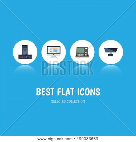 Flat Icon Laptop Set Of Technology, Processor, PC And Other Vector Objects