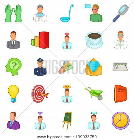 Job offer icons set. Cartoon set of 25 job offer vector icons for web isolated on white background