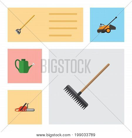 Flat Icon Garden Set Of Harrow, Hacksaw, Bailer And Other Vector Objects