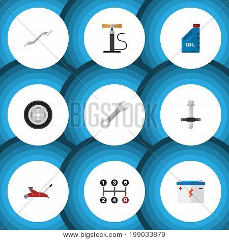 Flat Icon Workshop Set Of Wheel Pump, Muffler, Petrol And Other Vector Objects