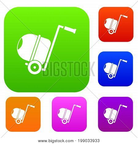 Concrete mixer set icon in different colors isolated vector illustration. Premium collection