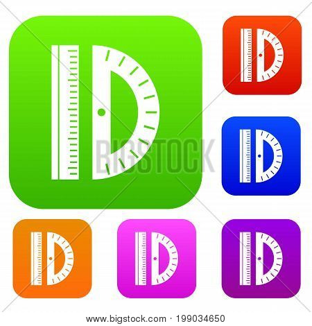 Line set icon in different colors isolated vector illustration. Premium collection