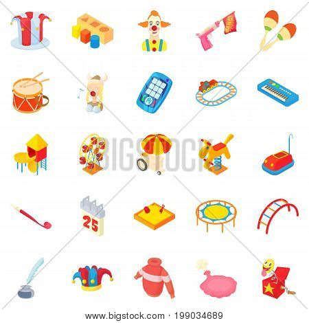 Pleasure icons set. Cartoon set of 25 pleasure vector icons for web isolated on white background