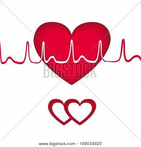 Red heart transcript. Vector Illustration EPS 10