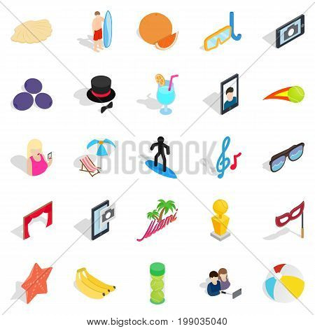 Rejoicing icons set. Isometric set of 25 rejoicing vector icons for web isolated on white background