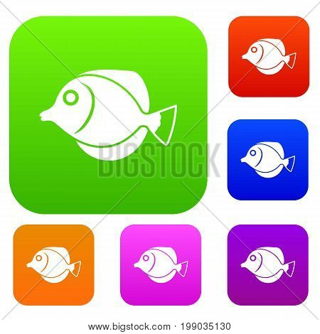 Tang fish, Zebrasoma flavescens set icon in different colors isolated vector illustration. Premium collection
