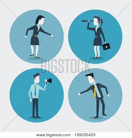 white background with colorful circle frames of businesswoman and businessman with briefcase and monocular and megaphone vector illustration