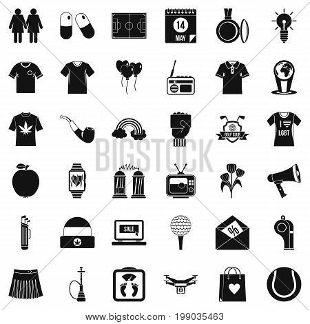 Shirt polo icons set. Simple style of 36 shirt polo vector icons for web isolated on white background