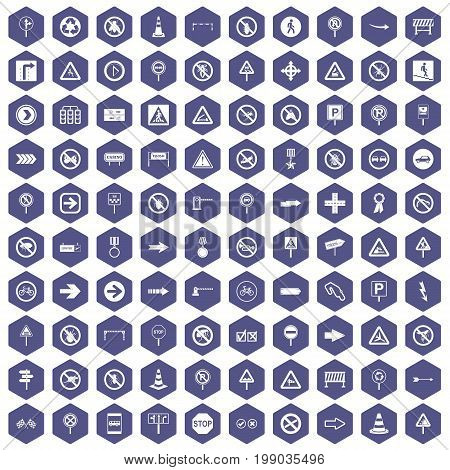 100 road signs icons set in purple hexagon isolated vector illustration