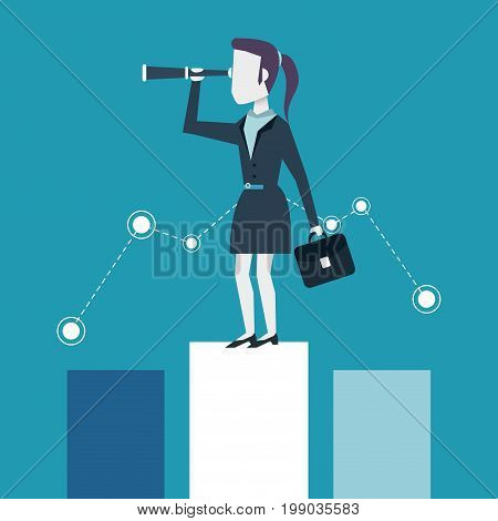 colorful background of business woman on the economic status bar with executive briefcase and monocular vector illustration