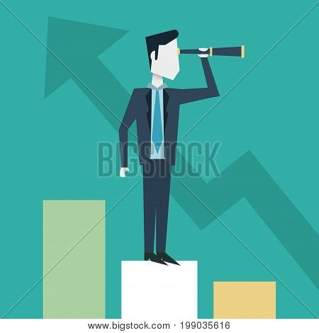 colorful background of businessman with monocular on the economic status bar vector illustration