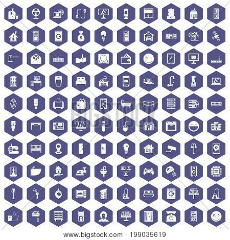100 smart house icons set in purple hexagon isolated vector illustration