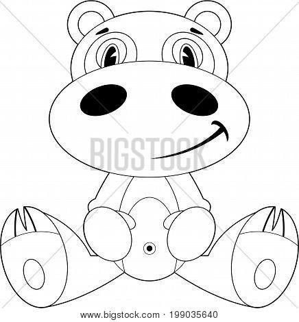 Cartoon Hippo Outline