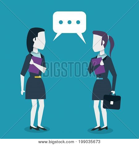 colorful background with dialogue between business women vector illustration