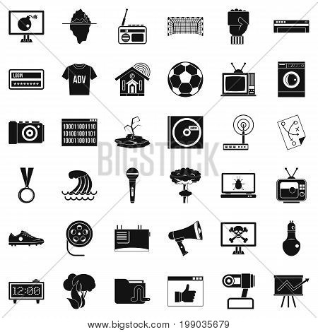 TV set icons set. Simple style of 36 tv set vector icons for web isolated on white background