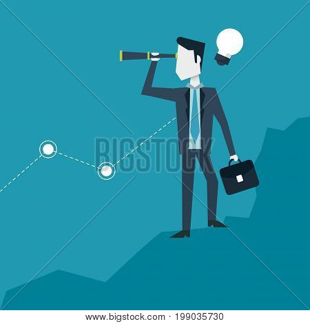 colorful background with businessman in growing process of idea with briefcase and monocular vector illustration