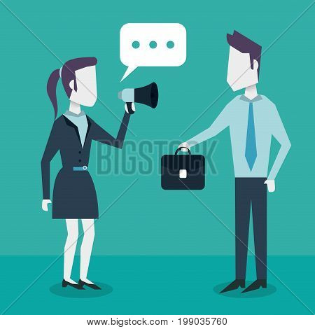colorful background with dialogue between business people and him with briefcase and her with megaphone vector illustration