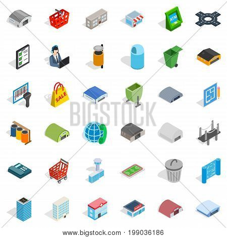 Towny icons set. Isometric style of 36 towny vector icons for web isolated on white background