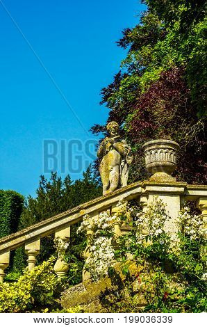 Beautiful Stone Stairs Leading Up To The Garden, Old Decorative Architecture, Stone Railing