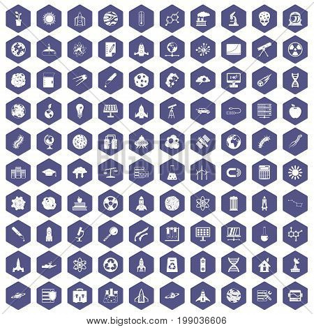 100 space icons set in purple hexagon isolated vector illustration