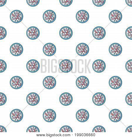 Bacteria under microscope pattern in cartoon style. Seamless pattern vector illustration