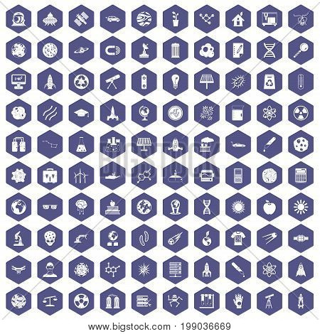 100 space technology icons set in purple hexagon isolated vector illustration