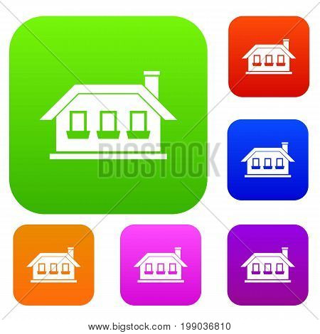 One-storey house with three windows set icon in different colors isolated vector illustration. Premium collection