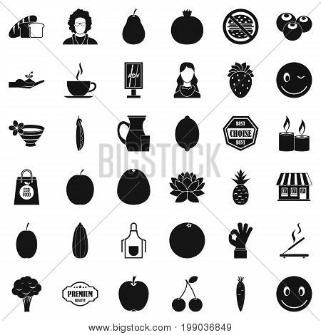 Vegetarian burger icons set. Simple style of 36 vegetarian burger vector icons for web isolated on white background