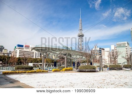 NAGOYA JAPAN - January 16ม 2017: Winter of Oasis 21 and TV Tower in Sakae. Oasis 21 is a modern facility located adjacent to Nagoya TV Tower in Sakae.