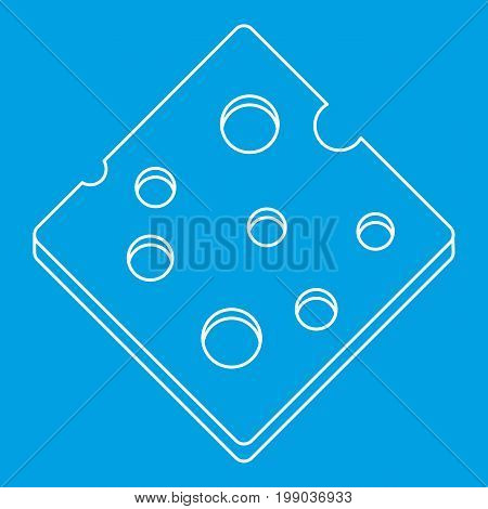 Cheese fresh block icon blue outline style isolated vector illustration. Thin line sign