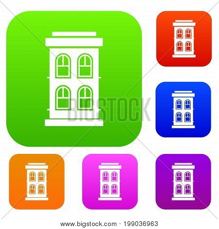Two-storey house with large windows set icon in different colors isolated vector illustration. Premium collection