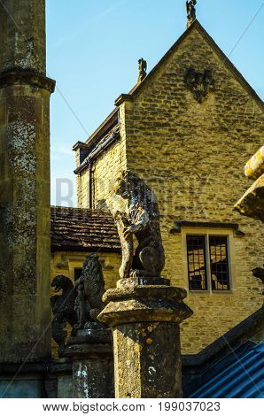 Old Sculpture On The Pedestal, Beautifully Preserved Old Artistic Figure, Decorative Elements On The