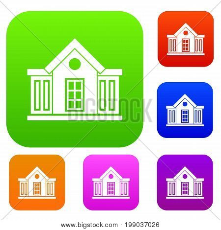 Mansion set icon in different colors isolated vector illustration. Premium collection