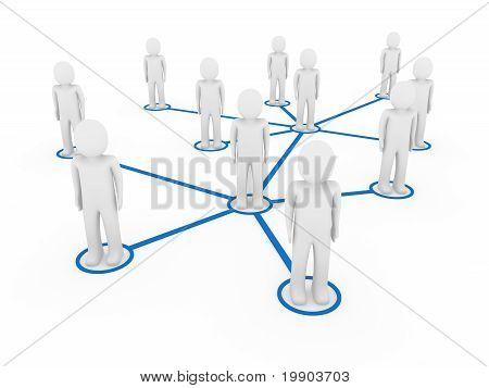 3D Men Network Social Blue
