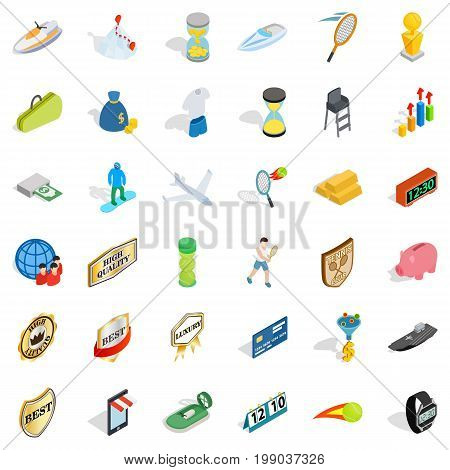 Hard victory icons set.Isometric style of 36 hard victory vector icons for web isolated on white background