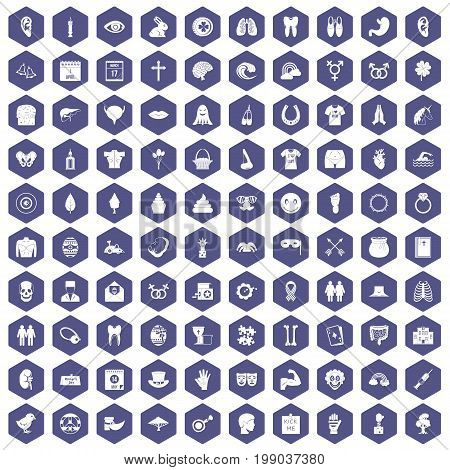 100 spring holidays icons set in purple hexagon isolated vector illustration