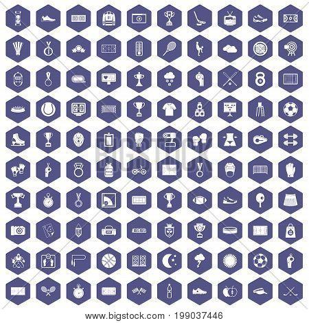 100 stadium icons set in purple hexagon isolated vector illustration