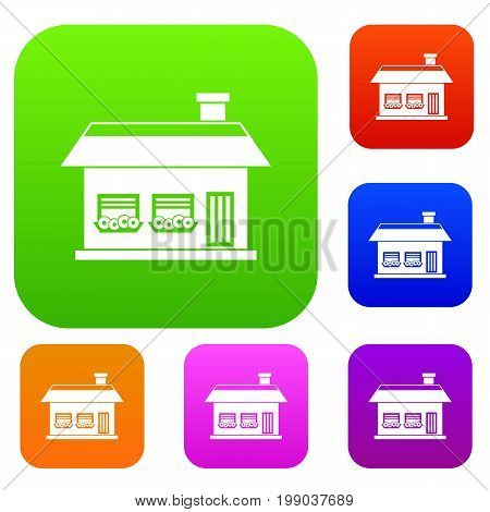 One storey house with two windows set icon in different colors isolated vector illustration. Premium collection