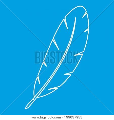 Feather pen icon blue outline style isolated vector illustration. Thin line sign