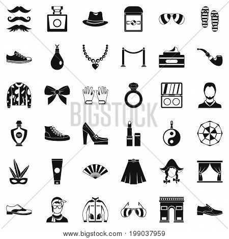 Vogue life icons set. Simple style of 36 vogue life vector icons for web isolated on white background