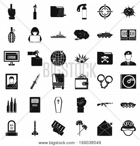 Bad war icons set. Simple style of 36 bad war vector icons for web isolated on white background