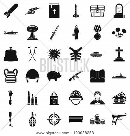 War army icons set. Simple style of 36 war army vector icons for web isolated on white background