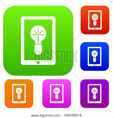 Idea lamp on gadget screen set icon in different colors isolated vector illustration. Premium collection