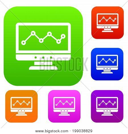 Graph in computer screen set icon in different colors isolated vector illustration. Premium collection